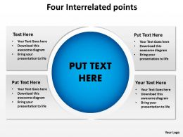 four interrelated points shown by horizontal text boxes cut across by circle powerpoint templates 0712