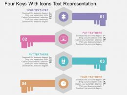 Four Keys With Icons Text Representation Flat Powerpoint Design