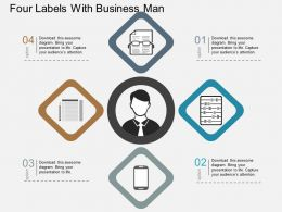 Four Labels With Business Man Flat Powerpoint Design