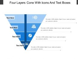 Four Layers Cone With Icons And Text Boxes