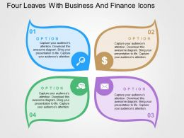 Four Leaves With Business And Finance Icons Flat Powerpoint Design