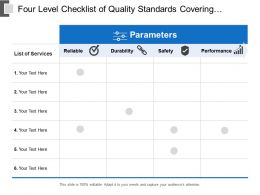 Four Level Checklist Of Quality Standards Covering Reliability Durability Safety And Performance