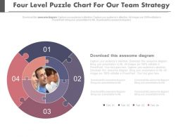 Four Level Puzzle Chart For Our Team Strategy Powerpoint Slides