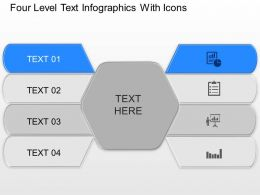 Four Level Text Infographics With Icons Powerpoint Template Slide