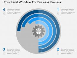 Four Level Workflow For Business Process Flat Powerpoint Design