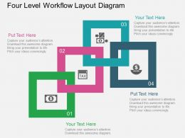 Four Level Workflow Layout Diagram Flat Powerpoint Design