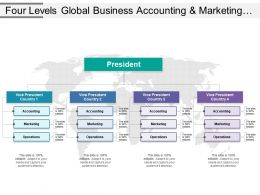 Four Levels Global Business Accounting And Marketing Operations Org Chart Ppt Slide