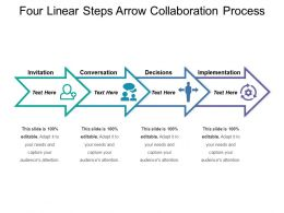 Four Linear Steps Arrow Collaboration Process