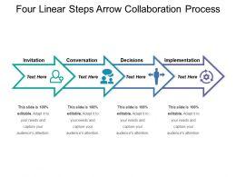 Four Linear Steps Arrow Collaboration Process
