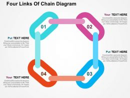 Four Links Of Chain Diagram Flat Powerpoint Design