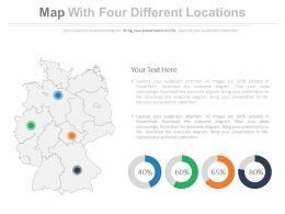 Four Map With Four Different Locations Powerpoint Slides