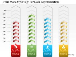Four Maze Style Tags For Data Representation Powerpoint Template