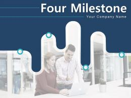 Four Milestone Timeline Curved Roadmap Development Computer Mountain Target Arrow