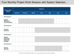four_monthly_project_work_streams_with_system_selection_and_shared_services_Slide01