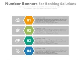 Four Number Banners For Banking Solutions Flat Powerpoint Design