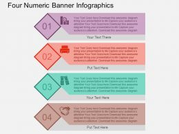 Four Numeric Banner Infographics Flat Powerpoint Design