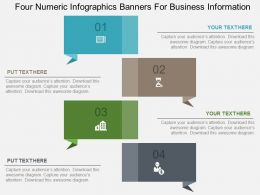 Four Numeric Infographics Banners For Business Information Flat Powerpoint Design