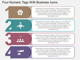 Four Numeric Tags With Business Icons Flat Powerpoint Design