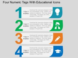 Four Numeric Tags With Educational Icons Flat Powerpoint Design