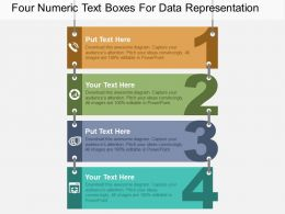 Four Numeric Text Boxes For Data Representation Flat Powerpoint Design