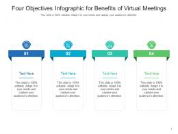 Four Objectives For Benefits Of Virtual Meetings Infographic Template
