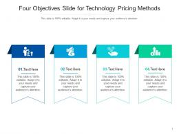 Four Objectives Slide For Technology Pricing Methods Infographic Template