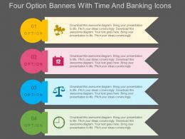 Four Option Banners With Time And Banking Icons Flat Powerpoint Design