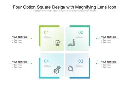 Four Option Square Design With Magnifying Lens Icon