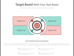 Four Option Text Boxes For Business Targets Powerpoint Slides