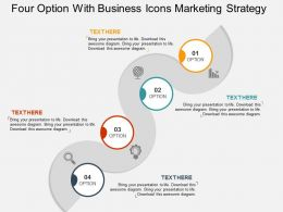Four Option With Business Icons Marketing Strategy Flat Powerpoint Design