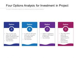 Four Options Analysis For Investment In Project