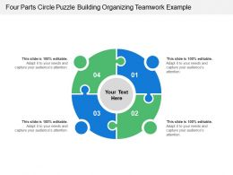 Four Parts Circle Puzzle Building Organizing Teamwork Example