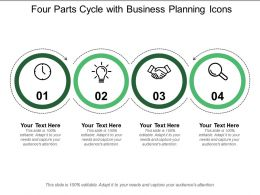 Four Parts Cycle With Business Planning Icons
