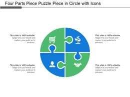 Four Parts Piece Puzzle Piece In Circle With Icons