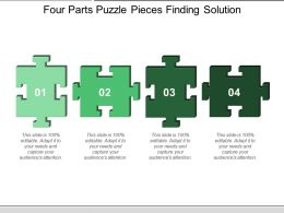 Four Parts Puzzle Pieces Finding Solution