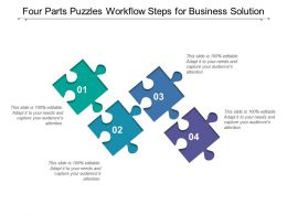 Four Parts Puzzles Workflow Steps For Business Solution