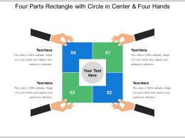 Four Parts Rectangle With Circle In Center And Four Hands
