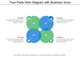 Four Parts Venn Diagram With Business Icons