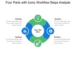 Four Parts With Icons Workflow Steps Analysis