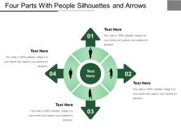 Four Parts With People Silhouettes And Arrows