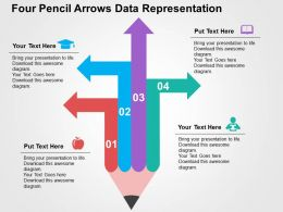 four_pencil_arrows_data_representation_flat_powerpoint_design_Slide01