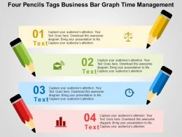 Four Pencils Tags Business Bar Graph Time Management Flat Powerpoint Design