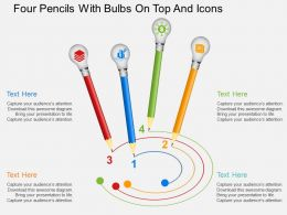 Four Pencils With Bulbs On Top And Icons Flat Powerpoint Design