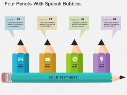 Four Pencils With Speech Bubbles Flat Powerpoint Design
