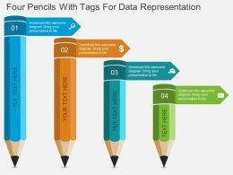 Four Pencils With Tags For Data Representation Flat Powerpoint Design