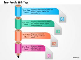 Four Pencils With Tags Powerpoint Template