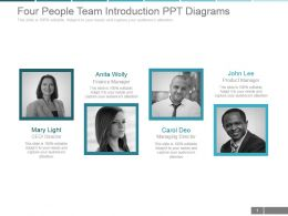 Four People Team Introduction Ppt Diagrams