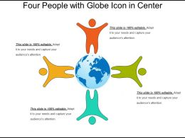 Four People With Globe Icon In Center