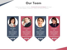 Four Peoples Tags For Team Management Powerpoint Slides
