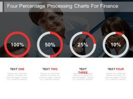 Four Percentage Processing Charts For Finance Powerpoint Slides
